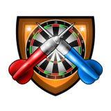 Los dardos rojos y azules cruzaron con dartsboard redondo en el centro del escudo Logotipo del deporte para cualquier juego o cam stock de ilustración