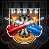 Los dardos rojos y azules cruzaron con la blanco redonda en el centro del escudo Logotipo del deporte para cualquier juego o camp ilustración del vector