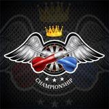 Los dardos rojos y azules cruzaron con la blanco redonda en el centro entre las alas Logotipo del deporte para cualquier juego de libre illustration