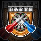 Los dardos rojos y azules cruzaron con la diana redonda en el centro del escudo Logotipo del deporte para cualquier juego o campe ilustración del vector