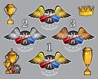 Los dardos rojos y azules cruzaron en blanco redonda entre las alas con las tazas y la corona Sistema del vector del logotipo par ilustración del vector