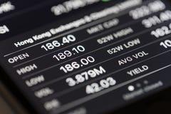 Los datos del mercado de acción sobre iPhone almacenan el app Imagenes de archivo