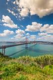 Los 25 de Abril Bridge es un puente que conecta la ciudad de Lisboa Fotos de archivo libres de regalías