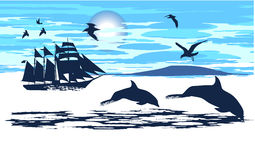 Los delfínes acompañaron la nave Imagen de archivo