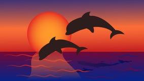 Los delfínes saltan en el mar contra la perspectiva de rojo amarillo libre illustration