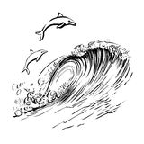 Los delfínes saltan en la impresión handdrawn de la serigrafía del bosquejo de la tinta del cepillo de las ondas stock de ilustración