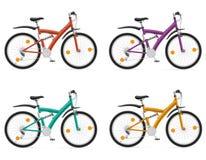 Los deportes bikes con el ejemplo posterior del vector del amortiguador de choque Fotos de archivo libres de regalías