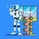 Los deportes del robot entrenan el vector de Whistles In Gym Ilustración aislada stock de ilustración