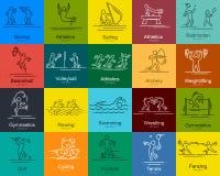Los deportes enrarecen la línea pictogramas fijados los iconos del vector Imagen de archivo