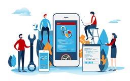 Los desarrolladores crean el proyecto de inicio Proceso de desarrollo de la aplicación móvil Interfaz de usuario Vector plano de  stock de ilustración
