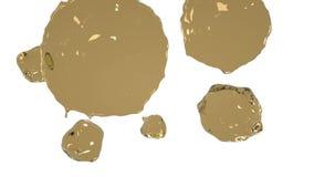 Los descensos amarillos bajan y se separan en la cámara lenta Agua coloreada stock de ilustración