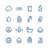 Los descensos cristalinos del agua potable, las bebidas frescas y la higiene alinean iconos del vector ilustración del vector