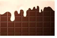 Los descensos que fluyen de la leche concentran la crema en un fondo del chocolate, realista imagenes de archivo
