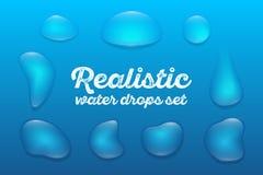 Los descensos transparentes realistas del agua fijaron en fondo azul Ilustración del vector foto de archivo libre de regalías