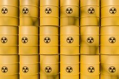 Los desechos radioactivos amarillos barrels - la basura nuclear que descarga concepto Ilustración del Vector