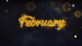 Los deseos del texto de febrero revelan de tarjeta de felicitaci?n de las part?culas del fuego artificial libre illustration