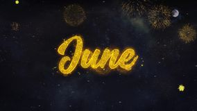 Los deseos del texto de junio revelan de tarjeta de felicitaci?n de las part?culas del fuego artificial almacen de video