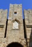 Los detalles arquitectónicos de la entrada en Rodas fortificaron la ciudadela Foto de archivo libre de regalías