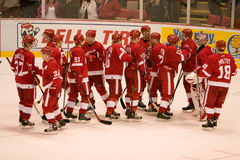Los Detroit Red Wings se felicitan Fotos de archivo