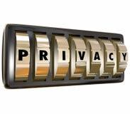 Los diales de la cerradura del oro de la palabra de la privacidad protegen los datos personales S de Infromation Foto de archivo libre de regalías