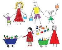 Los dibujos de los niños con la familia y el niño con la comida en supermercado Imágenes de archivo libres de regalías