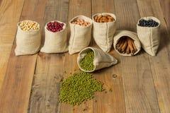 Los diferentes tipos de habas y de canela en sacos empaquetan Imagen de archivo