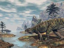 Los dinosaurios -3D de Batrachotomus rinden Fotografía de archivo libre de regalías