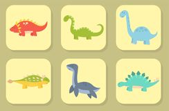 Los dinosaurios de la historieta vector el dragón jurásico despredador de la fantasía de Dino del monstruo del ejemplo del reptil Fotos de archivo libres de regalías