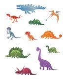 Los dinosaurios divertidos del vintage fijaron uno Imagen de archivo libre de regalías
