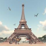 Los dinosaurios en París stock de ilustración