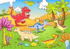 Dinosaurios lindos en escena prehistórica Imágenes de archivo libres de regalías