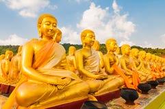 Los discípulos de Buda de oro en el parque conmemorativo de Buda Imágenes de archivo libres de regalías