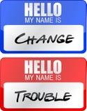 Los diseños conocidos cambie y de la ilustración de las etiquetas del apuro Fotografía de archivo libre de regalías
