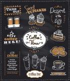 Los diseños de la pizarra del tiempo del café fijaron para el café o el restaurante Imágenes de archivo libres de regalías