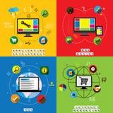 Los diseños planos de sitio web diseñan, uso y el desarrollo VE del app Fotografía de archivo