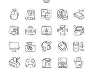Los dispositivos Bien-hicieron la línea fina rejilla 2x de los iconos 30 del vector a mano perfecto del pixel para los gráficos y Fotos de archivo