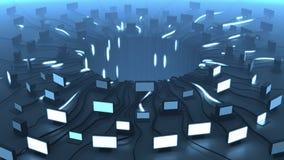 Los dispositivos y la red múltiples telegrafían las señales, representación 3D Fondo para una tarjeta de la invitación o una enho Imagenes de archivo