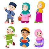 los diversos activies diarios que hacen generalmente en el Ramadán libre illustration