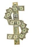 Los diversos billetes de dólar alinearon para formar el símbolo del dólar Imágenes de archivo libres de regalías