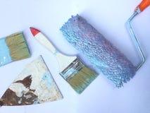 Los diversos tipos cepillos pintados se utilizan ya imagen de archivo libre de regalías