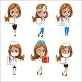 Los doctores fijaron de las muchachas en diversas actitudes, doctor de la mujer, enfermera, ayudante de sanidad con diversos obje Fotografía de archivo