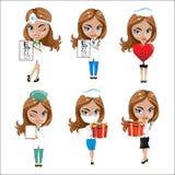 Los doctores fijaron de las muchachas en diversas actitudes, doctor de la mujer, enfermera, ayudante de sanidad con diversos obje Imagen de archivo libre de regalías