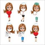 Los doctores fijaron de las muchachas en diversas actitudes, doctor de la mujer, enfermera, ayudante de sanidad con diversos obje Foto de archivo libre de regalías