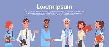 Los doctores intermedios Hand Shake Team Clinics Hospital del grupo stock de ilustración