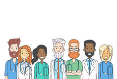 Los doctores intermedios Team Work Thin Line del grupo Imagen de archivo libre de regalías
