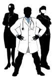 Los doctores y enfermeras Team Silhouettes médico Imagen de archivo