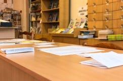 Los documentos están en el cuadro 3 Foto de archivo