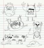 Los doodles del monstruo fijaron 2 Imagen de archivo