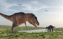 Los dos dinosaurios ilustración del vector