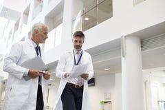 Los dos doctores Talking As They Walk a través del hospital moderno foto de archivo